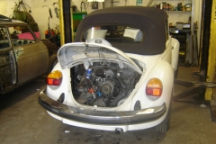 Late cabrio in the workshop for a fuel system fault.