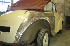 Not a VW and definitely not aircooled. This Morris Minor convertable was in need of a new wing and rear quarter repairs.