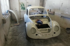 Further down the process after the shell and most panels have been painted.