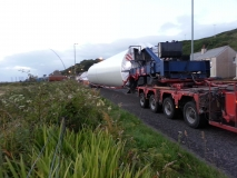 Wind turbine being transported up the A83